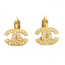chanel cc gold crystal earrings (1 of 2)