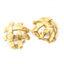 Chanel Gold CC Logo Pearl Clip On Earrings CCE20