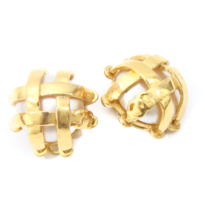 chanel gold cc logo pearl clip on earrings cce20 bags of