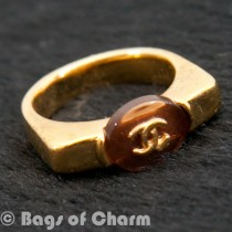 Rare Chanel Vintage Gold Costume CC Logo Ring CCR1