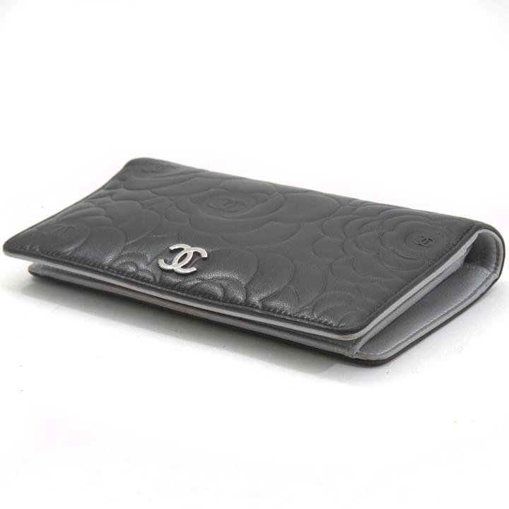 Chanel Black Lambskin Camellia Long Wallet - Bags of ...