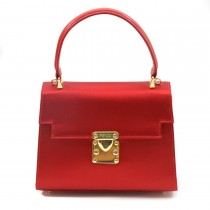 Fendi red leather satin kelly bag main (2 of 2)